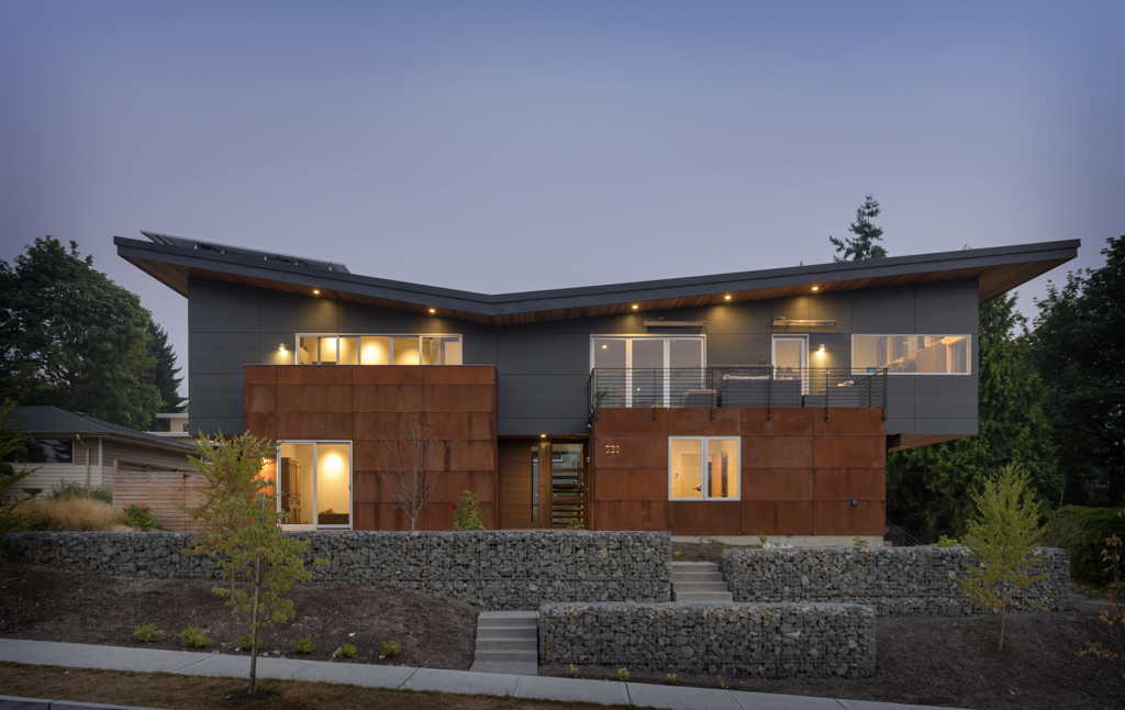 Exterior Northwest Modern Residence Kirkland Seattle Washington